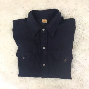 AG Adriano Goldschmied Navy Linen Button down
